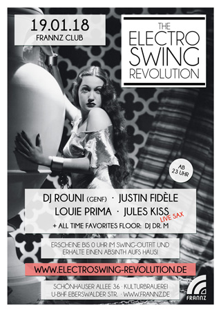 Electro Swing Revolution am 19.01.2018 @ FRANNZ CLUB BERLIN
